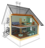 House. Abstract architectural 3D rendered construction Royalty Free Stock Image