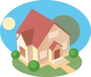 House. Small house on a lawn. Vector  illustration Stock Photo