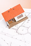 House. Architecture model house on a blueprint Royalty Free Stock Photo