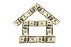 House. Made of dollar banknotes on white background Royalty Free Stock Images