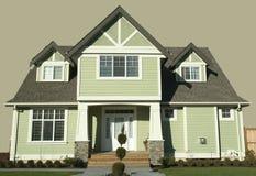 House. New home with green vinyl siding stock photos