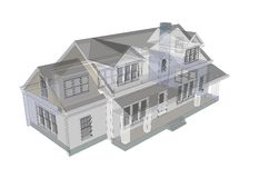 House. 3d  transparent house on white background Royalty Free Stock Image