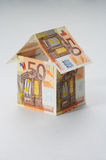 House. Made out of  50 Euro bills Royalty Free Stock Image