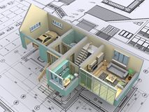 House. 3D isometric view the cut residential house on architect?s drawing. Background image is my own Stock Photos