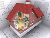 House. 3D isometric view the residential house on architect's drawing. Background image is my own Stock Image