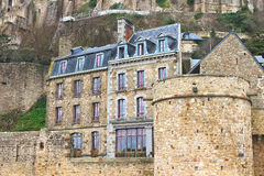 House in the abbey of Mont Saint Michel. Normandy, France stock photography