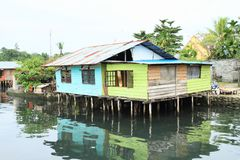 House above sea in Manokwari. Wooden house of fisherman on pillars above sea in Manokwari, Papua Barat, Indonesia. Poverty concept of tropical city stock photography