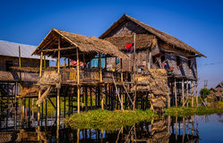 A house above water on Inle Lake, Myanmar (Burma) Royalty Free Stock Images