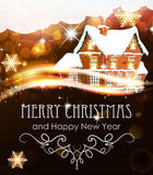 House on abstract Christmas background Royalty Free Stock Images