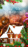 House on abstract Christmas background Royalty Free Stock Photos