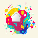 House on abstract colorful spotted background with different ele Royalty Free Stock Image