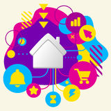House on abstract colorful spotted background with different ico Stock Images