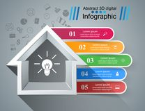 House abstract 3d icon. Business infographic. Vector eps10 Royalty Free Illustration