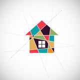 House abstract real estate vector background. Realty theme icon Royalty Free Stock Photography