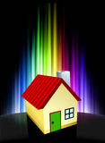 House on Abstract Spectrum Background Stock Image