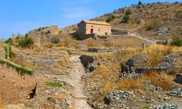 House on the Acrocorinth hill Royalty Free Stock Photo