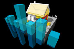 House with additional insulation and business diagram Stock Photography