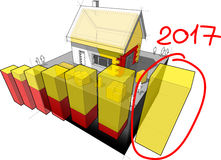 House with additional insulation and hand drawn diagram note 2017 Stock Photography
