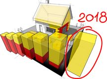 House with additional insulation and hand drawn diagram note 2018. 3d illustration of diagram of a detached house with additional wall and roof insulation and Royalty Free Stock Images