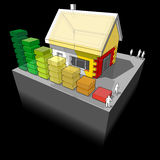 House with additional wall and roof insulation and energy rating diagram. Diagram of a detached house with additional wall and roof insulation and energy rating royalty free illustration