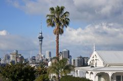 House against Auckland city skyline New Zealand Royalty Free Stock Photography