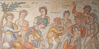 House of Aion: Birth of Dionysus. Part of mosaic floor in House of Aion Royalty Free Stock Photos