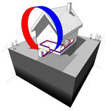 House with air heat pump diagram Royalty Free Stock Image