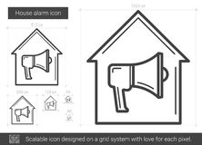 House alarm line icon. House alarm vector line icon isolated on white background. House alarm line icon for infographic, website or app. Scalable icon designed Royalty Free Stock Photo