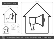 House alarm line icon. House alarm vector line icon isolated on white background. House alarm line icon for infographic, website or app. Scalable icon designed Stock Images
