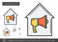 House alarm line icon. House alarm vector line icon isolated on white background. House alarm line icon for infographic, website or app. Scalable icon designed Stock Image
