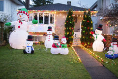 House all decked out for christmas with snowmen Stock Image