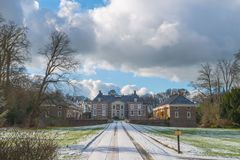 Castle Huize Almelo with access road in Almelo. Castle Huize Almelo, fortified building with access road, small castle, Almelo, Twente, Overijssel, the royalty free stock photography
