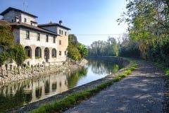 House along Naviglio Grande Milan Royalty Free Stock Photography