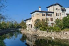 House along Naviglio Grande Milan Stock Image