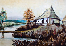 House along a river oil painting Royalty Free Stock Photos