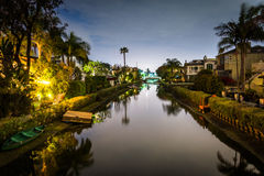 House along the Venice Canals at night, in Venice Beach  Stock Photography