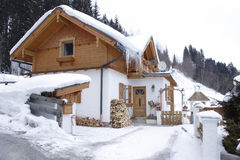 House in Alps stock photo