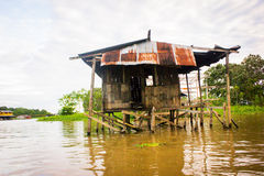 House at the amazon river Royalty Free Stock Images