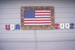 House with American Flag, Park City, Utah, Winter Olympics, 2002 Royalty Free Stock Image