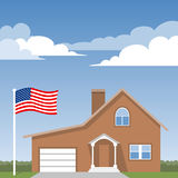 House and american flag Stock Image