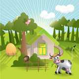 House And Cow Royalty Free Stock Photos
