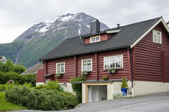 House in Norway. House in Andalsnes, Norway - Beautiful landscape of fjords Royalty Free Stock Images