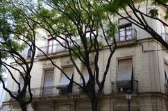 The house in Andalusia, Spain. Typical house in Andalusia, Spain, with balcony and trees front of it Stock Photo