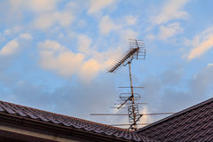 House and antenna on the roof Royalty Free Stock Images
