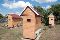 House for apitherapy. Wooden single-seat house for apiotherapy outdoor at summer sunny day Stock Photo