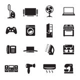House appliance, home appliance icons set. Black on a white background Stock Photography
