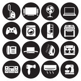 House appliance, home appliance icons set. White on a black background Royalty Free Stock Photos
