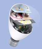 House appliances and furniture in a LED light bulb. Ecology life concept Royalty Free Stock Images