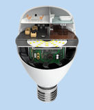 House appliances and furniture in a LED light bulb. Ecology life concept Stock Photo