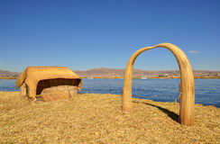 House and Arch Uros Reed Floating Island Royalty Free Stock Photography